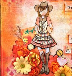 Scrap Escape Julie Nutting's new cowgirl doll stamp ( Becky).  Isn't she adorable?   Created for Prima Marketing, using Color Bloom Spray Mists, the Something Blue Collection and Bloom Collection.  easy DIY.