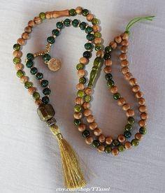 Beige Tassel Yoga Necklace Mala Yoga Tassel Necklace Wooden Bead Necklace Meditation Prayer Beads Yoga Beads Wooden Beadwork 33 Loop