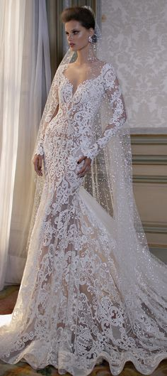 Wedding Dress by Berta Spring 2016 Bridal Collection - gorgeous! Love the lace!