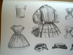 """Children's Clothes 1862 a. corset for a little girl; b. school apron for a little girl (10/1862); c. Little girl's """"High Garibaldi Costume"""" can be made with any summer material, sash worn with costume worn generally on the right"""
