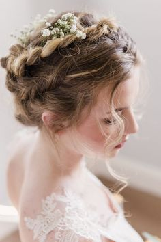 Such romantic hair with Rosemary lace wedding dress from Romantique by Claire Pettibone
