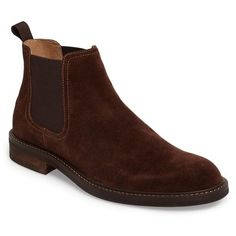 Men's 1901 'Horton' Chelsea Boot ($75) ❤ liked on Polyvore featuring men's fashion, men's shoes, men's boots, brown suede, mens brown boots, mens brown leather boots, mens shoes, mens leather chelsea boots and mens brown leather shoes