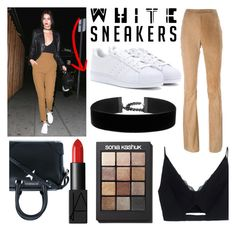 """""""White sneakers"""" by lolfitzpatrick ❤ liked on Polyvore featuring Givenchy, Versace, Drome, adidas, NARS Cosmetics and Sonia Kashuk"""