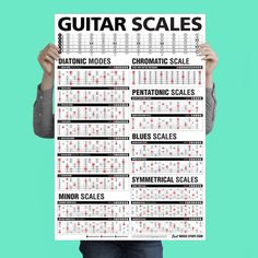 It provides all of the scales that you will ever need to know on the guitar. Oversized guitar scales visible from a few feet away. Most guitar players experience positive side effects, but individual results may vary. Music Theory Guitar, Guitar Solo, Guitar Tabs, Guitar Chords, Cool Guitar, Simple Guitar, Guitar Girl, Acoustic Guitars, Jazz Guitar