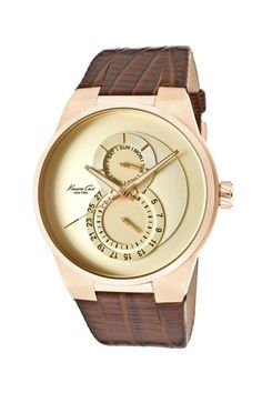 Kenneth Cole Men's Casual Alias Watch brown leather band rose gold plate
