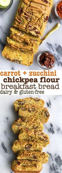 Chickpea Flour Carrot Zucchini Bread that is low sugar, gluten + dairy free. The easiest breakfast bread made with chickpea flour for extra protein and fiber.