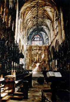 Paul Dmoch (Poland, born 1958) Choeur, Cathédrale de Winchester, Angleterre - Aquarelle 75 x 52 - art