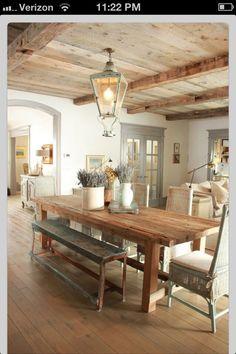 Farmhouse Table + Wood Ceiling
