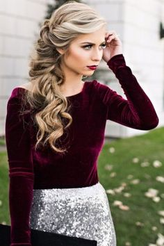 velvet top + sequin skirt + long hair