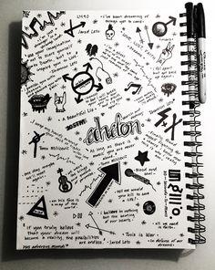 30 Seconds to Mars♡ Mini Drawings, Dark Art Drawings, Pencil Art Drawings, Doodle Drawings, Colorful Drawings, Easy Drawings, Notebook Drawing, Notebook Sketches, Notebook Doodles