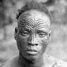 Africa | Man from the Upper Congo | ©BMS World Mission Archives; Angus Library, Oxford || By the time Christian missionaries from Europe became established in the Congo in the 1800s, scarification was a highly-developed and elaborate means of body decoration for the indigenous Congolese inhabitants.