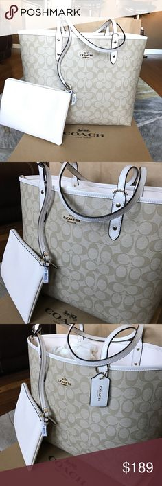Coach Large Reversible Tote Reversible large tote. Brand new and I will include the Coach box. The otherside is white. It includes the small makeup bag. Coach Bags Totes