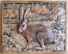 "American Wildlife ceramic Hare tile 10x13"". $95.00"