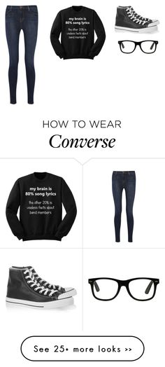 """""""#musicislife"""" by littlewonder2504 on Polyvore featuring Converse and J Brand"""