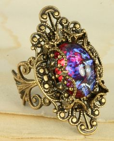 Fire Opal Ring Dragons Breath Ring Mexican by ForTheCrossJewelry