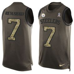 Nike Steelers #7 #Ben #Roethlisberger Green Men's Stitched 1054.60NFL Limited Salute To Service Tank Top 1054.60Jersey