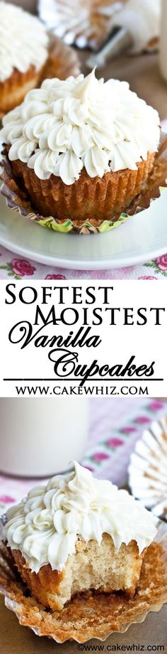 This is the BEST VANILLA CUPCAKE RECIPE ever! They are soft and moist but firm enough to not fall apart when you bite into them. Top them off with buttercream icing and they are heavenly! From cakewhiz.com