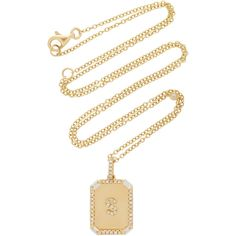 Shay Mini Initial Nameplate Necklace with Baguette Diamond Accents ($2,090) ❤ liked on Polyvore featuring jewelry, necklaces, diamond accent necklace, 18 karat gold jewelry, layered jewelry, 18 karat gold necklace and 18k necklace