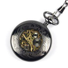 a4f5c876d54 Rbp7 Relógio De Bolso Aço Folh Preto Func Corda Alg Romanos - R  84