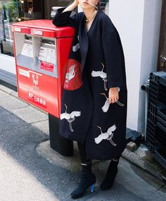 Fine Art Collection black base with red sun white crane hand embroidery coat… Hijab Fashion, Fashion Outfits, Womens Fashion, Autumn Winter Fashion, Parka, Print Patterns, Trench, Textiles, Street Style