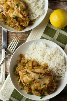 Poulet Yassa (Senegalese Chicken) - I served with sweet potatoes tonight along with rice-orzo rice pilaf - outstanding