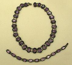 Jewelry set Date: 1850–99 Culture: American or European Medium: stone, silver, amethyst Dimensions: Length (a): 15 1/2 in. (39.4 cm) Length (b): 7 1/2 in. (19.1 cm)