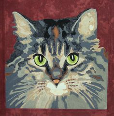 Cat Portrait Quilt Zoe. 18 X 18 quilted wall hanging. One of a kind. www.portraitsinfabric.com