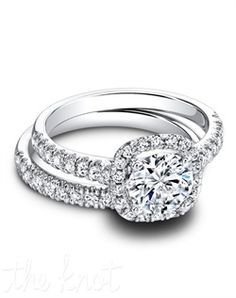 """Jeff Cooper """"Tate"""" engagement ring with diamond cushion halo for a round brilliant center diamond. Engagement Ring Photos, Dream Engagement Rings, Cushion Cut Engagement Ring, Round Diamond Cushion Halo, Round Cut Diamond, Bling Bling, Jeff Cooper, Proposal Ring, Ring Pictures"""