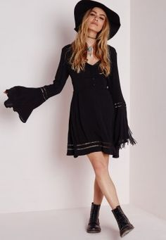 Cheesecloth Cut-Out Ladder Detail Skater Dress Black