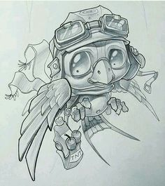 Y'know, people think that Spitfires won the Battle of Britain. These little guys deserve some credit too. Ladies and Gents - Bomber Bird. Pencil Art Drawings, Animal Drawings, Cool Drawings, Tattoo Sketches, Tattoo Drawings, Drawing Sketches, Drawing Artist, Tattoo Art, Graffiti Art