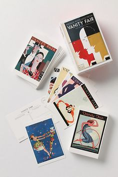 100 vintage postcards from Vanity Fair. I am using them in my small bathroom as collages.  LOVE the find at Anthropologie!