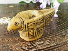 Stein Öllampe Nr:16/C - Rare carved Ghazni islamic Alabaster stone persan oil lamp in marble Afghanistan