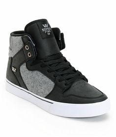 cdbd4566629 Supra Vaider Black Leather   Grey Wool Skate Shoe at Zumiez   PDP Supra  Shoes