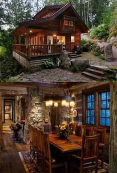 OMG, the stone work. Drool!!! I can't imagine these two pictures are from the same house. The sizing is off. But I still love the set.