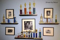 Trophy display idea for a kid who has trophies, trophies, and more trophies