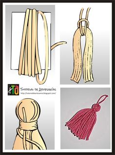 Tia Bones, hilando ideas: Chal triangular al Crochet (con patron)How to make.a great knot for these.Let & ciaEasy way to pass the yard to hang the tassel. Diy Tassel, Tassel Jewelry, Diy Jewelry, Jewelry Making, Textile Jewelry, Jewellery, Pom Pom Crafts, Yarn Crafts, Diy And Crafts