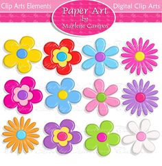 INSTANT DOWNLOAD  3D Colored Flowers and Leaves by PaperArtbyMC, $4.99