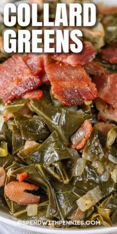 Easy Collard Greens Recipe, Collard Greens With Bacon, Southern Collard Greens, Vegetable Side Dishes, Vegetable Recipes, Vegetarian Recipes, Vegetarian Cooking, Veggie Food, Pizza