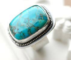 SALE 30% OFF - Beautiful Adjustable  Turquoise Cocktail Ring....Handmade in Sterling Silver...Large Chunky Ring. $112.00, via Etsy.