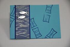 10 DIY-Einladungskarten zur Kommunion Glitzerfisch von Cardlove.de auf DaWanda.com
