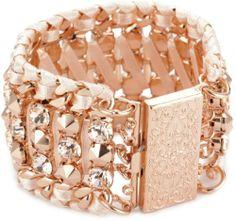 """LK Designs """"Summer Breeze"""" Rose Gold Colored Crystal Bracele $200"""