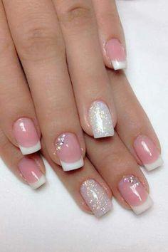 Easy silver glitter nail art designs for Eid Diy Nails, Cute Nails, Pretty Nails, Silver Glitter Nails, Glitter Nail Art, Green Nail Art, Green Nails, French Nails, Simple Nail Art Designs