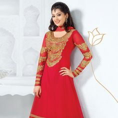 #Red Faux Georgette #Anarkali Churidar Kameez