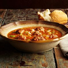 "Sopa de Albondigas Meaning ""soup of meatballs,"" this Mexican slow cooker soup is sweeter than you'd expect.Slow Cooker Soup and Stew Recipes Slow Cooker White Chicken Chili Recipe, Slow Cooker Chili, Slow Cooker Recipes, Crockpot Recipes, Soup Recipes, Cooking Recipes, Yummy Recipes, Healthy Recipes, Meatball Soup"