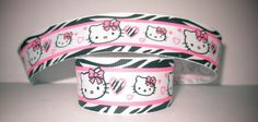 "GROSGRAIN ZEBRA HELLO KITTY  7/8"" INCH RIBBON *YOUR CHOICE OF 1, 3 OR 5 YARDS*"