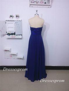 Floor length royal blue chiffon prom dress with por Dressesprom