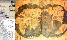 Chinese explorer Zheng He may have discovered America before Columbus, according to new book. Does a Chinese map prove that Christopher Columbus was not the first explorer to navigate the New World? Zheng He, Old World Maps, Old Maps, Vintage Maps, Antique Maps, Ancient Aliens, Ancient History, Ancient Map, Ancient Egypt