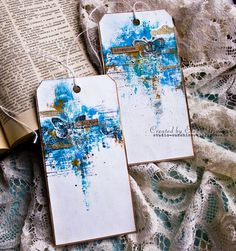 Blue butterfly distress look tags