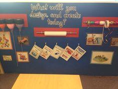 Creative area wall - early years Year 1 Classroom Layout, Preschool Room Layout, Early Years Classroom, Early Years Displays, Early Years Topics, Creative Area Eyfs, Creative Activities, School Displays, Classroom Displays