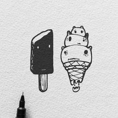 Ice Cream - 'Fear Not' Series.  #illustration #icecream #sketch #penandink